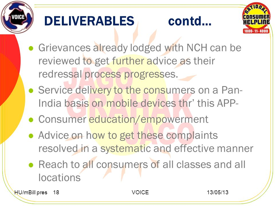 DELIVERABLES contd… Grievances already lodged with NCH can be reviewed to get further advice as their redressal process progresses.
