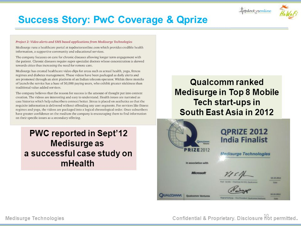 Success Story: PwC Coverage & Qprize 10 Qualcomm ranked Medisurge in Top 8 Mobile Tech start-ups in South East Asia in 2012 PWC reported in Sept'12 Medisurge as a successful case study on mHealth Medisurge Technologies Confidential & Proprietary.