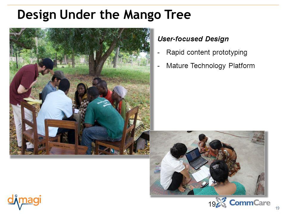 19 Design Under the Mango Tree 19 User-focused Design -Rapid content prototyping -Mature Technology Platform