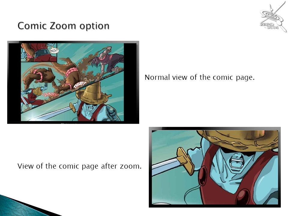 Normal view of the comic page. View of the comic page after zoom.