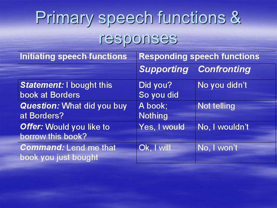 Primary speech functions & responses