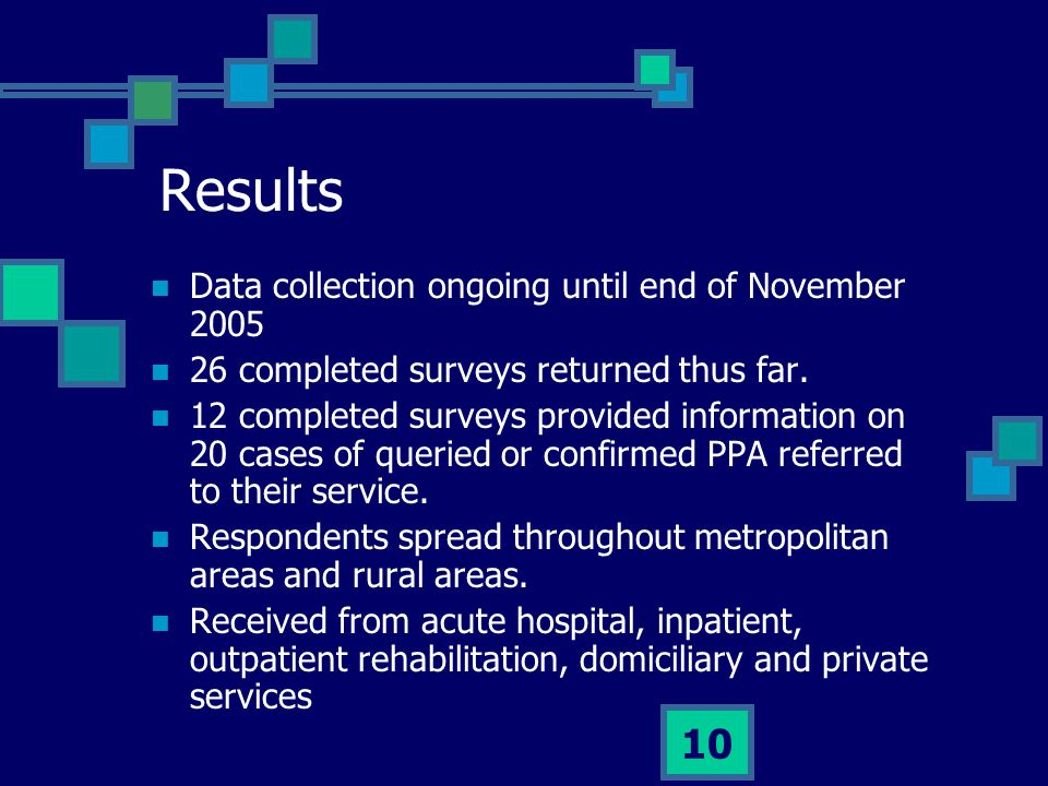 10 Results Data collection ongoing until end of November 2005 26 completed surveys returned thus far. 12 completed surveys provided information on 20
