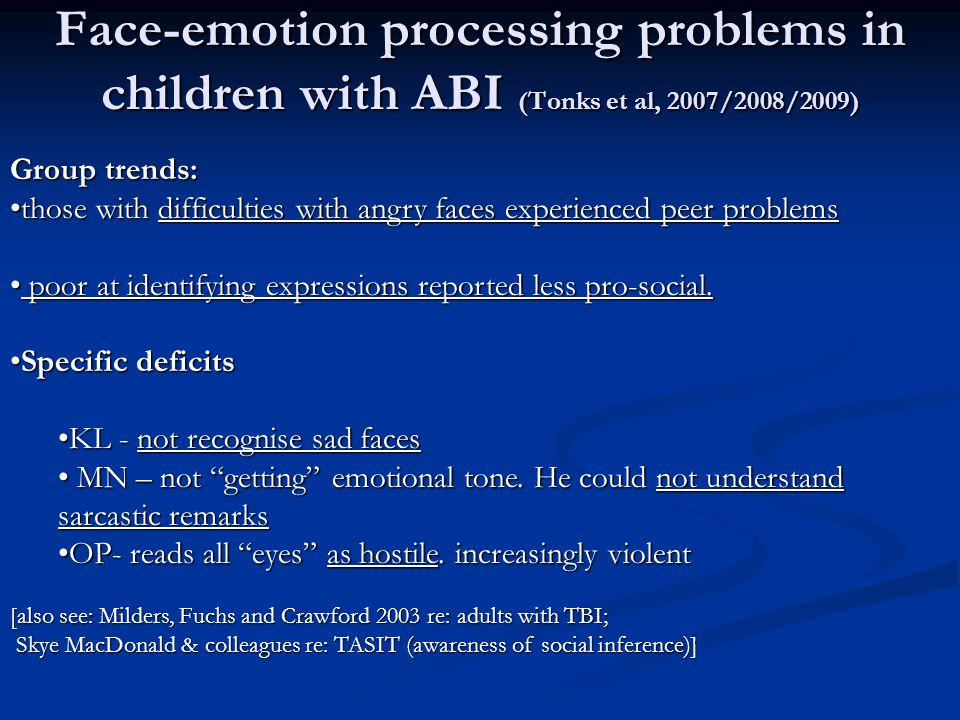 Face-emotion processing problems in children with ABI (Tonks et al, 2007/2008/2009) Group trends: those with difficulties with angry faces experienced peer problemsthose with difficulties with angry faces experienced peer problems poor at identifying expressions reported less pro-social.