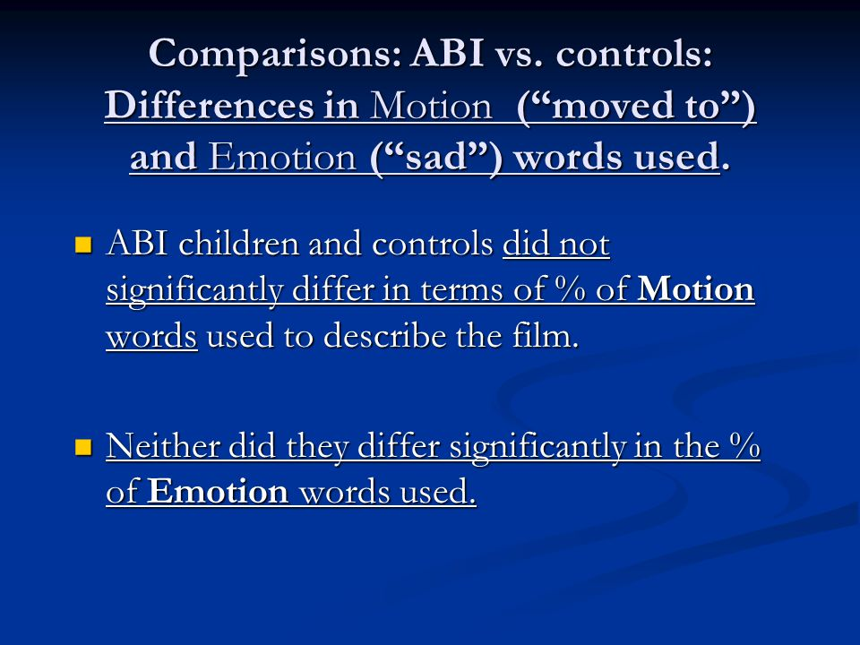 Comparisons: ABI vs. controls: Differences in Motion ( moved to ) and Emotion ( sad ) words used.