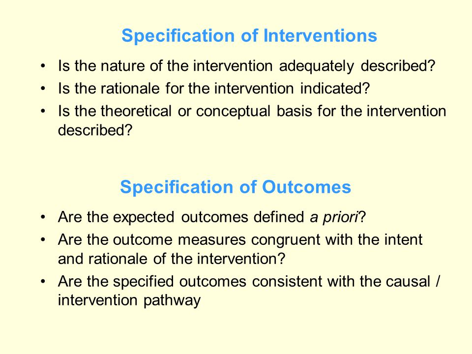 Specification of Interventions Is the nature of the intervention adequately described? Is the rationale for the intervention indicated? Is the theoret