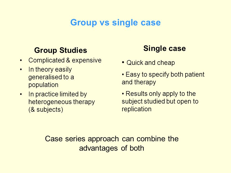 Group vs single case Group Studies Complicated & expensive In theory easily generalised to a population In practice limited by heterogeneous therapy (