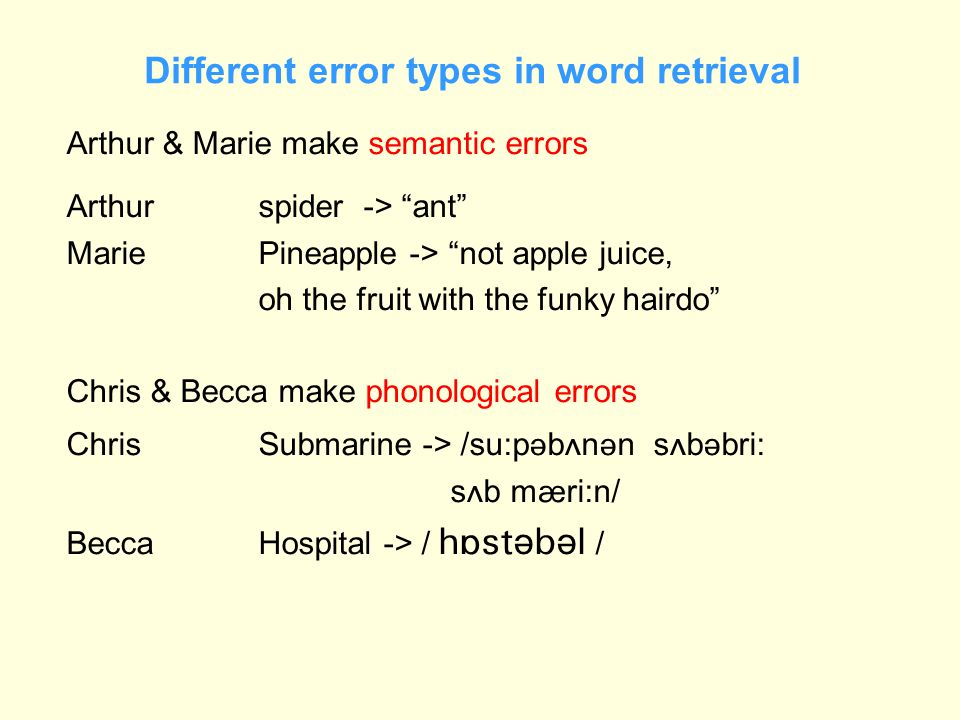 "Different error types in word retrieval Arthur & Marie make semantic errors Arthurspider -> ""ant"" Marie Pineapple -> ""not apple juice, oh the fruit wi"
