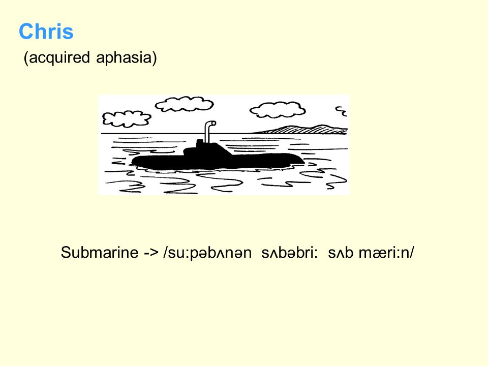 Submarine -> /su:p  b  n  n s  b  bri: s  b m  ri:n/ Chris (acquired aphasia)