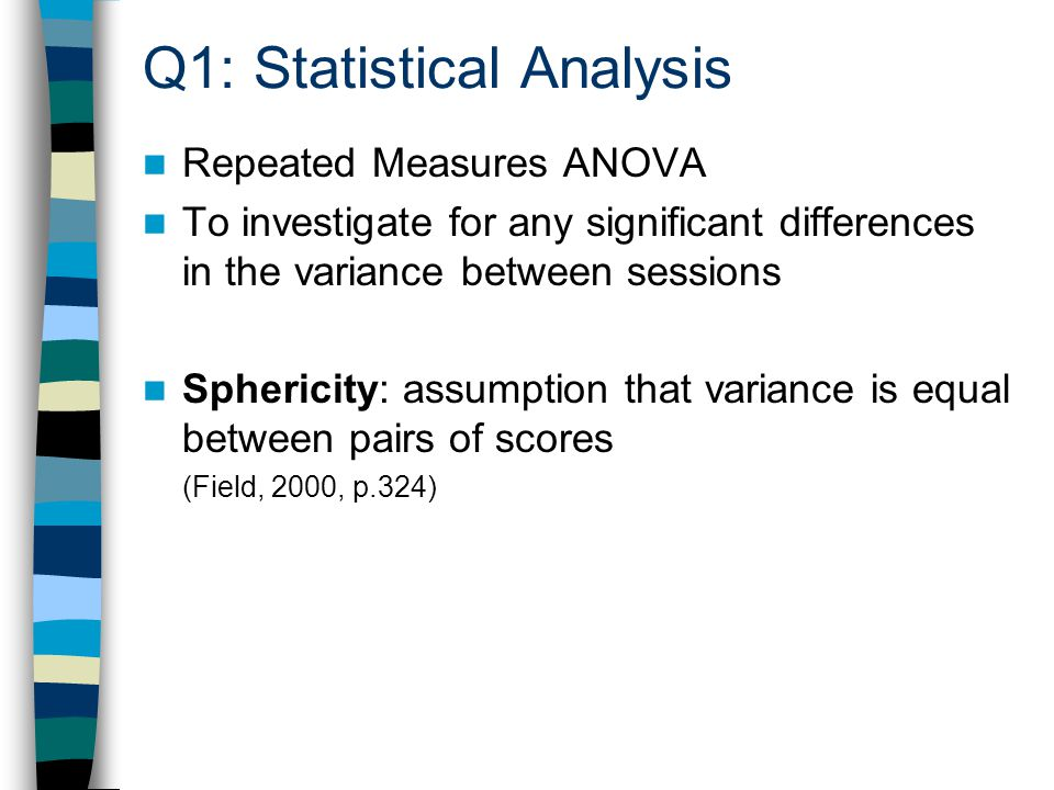 Q1: Statistical Analysis Repeated Measures ANOVA To investigate for any significant differences in the variance between sessions Sphericity: assumption that variance is equal between pairs of scores (Field, 2000, p.324)