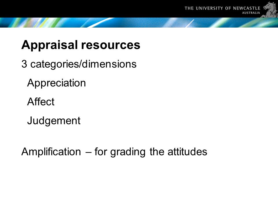 Appraisal resources 3 categories/dimensions Appreciation Affect Judgement Amplification – for grading the attitudes