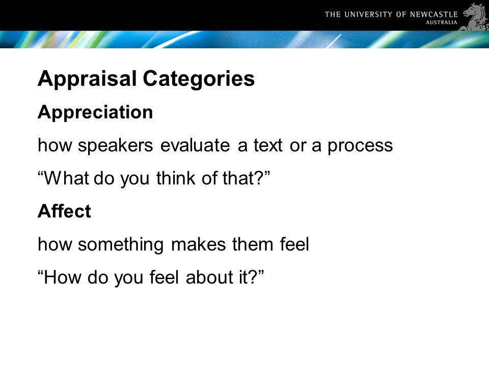 Appraisal Categories Appreciation how speakers evaluate a text or a process What do you think of that Affect how something makes them feel How do you feel about it