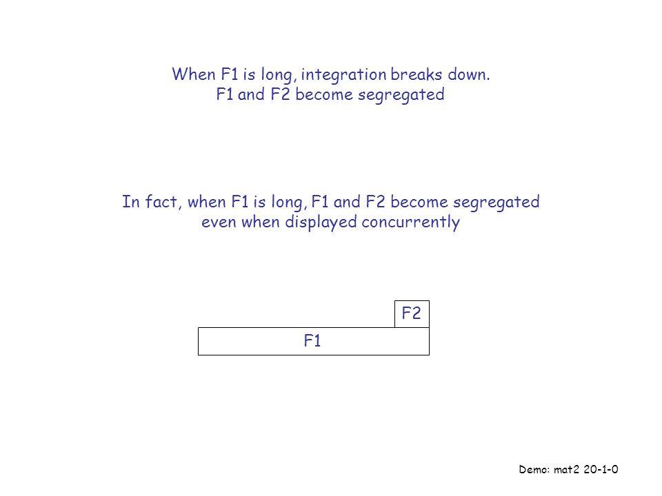F2 F1 When F1 is long, integration breaks down.