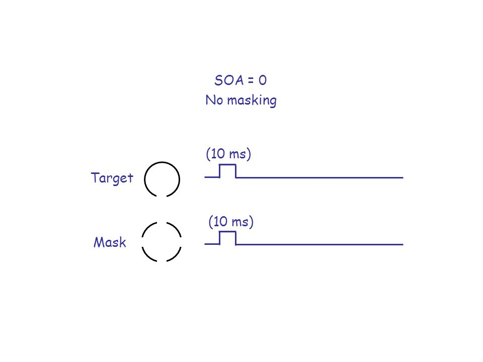 SOA = 0 No masking (10 ms) Target (10 ms) Mask
