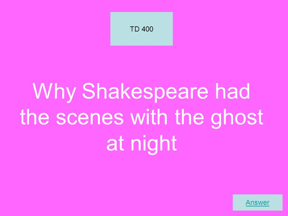 Why Shakespeare had the scenes with the ghost at night TD 400 Answer
