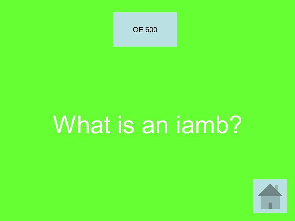 What is an iamb? OE 600
