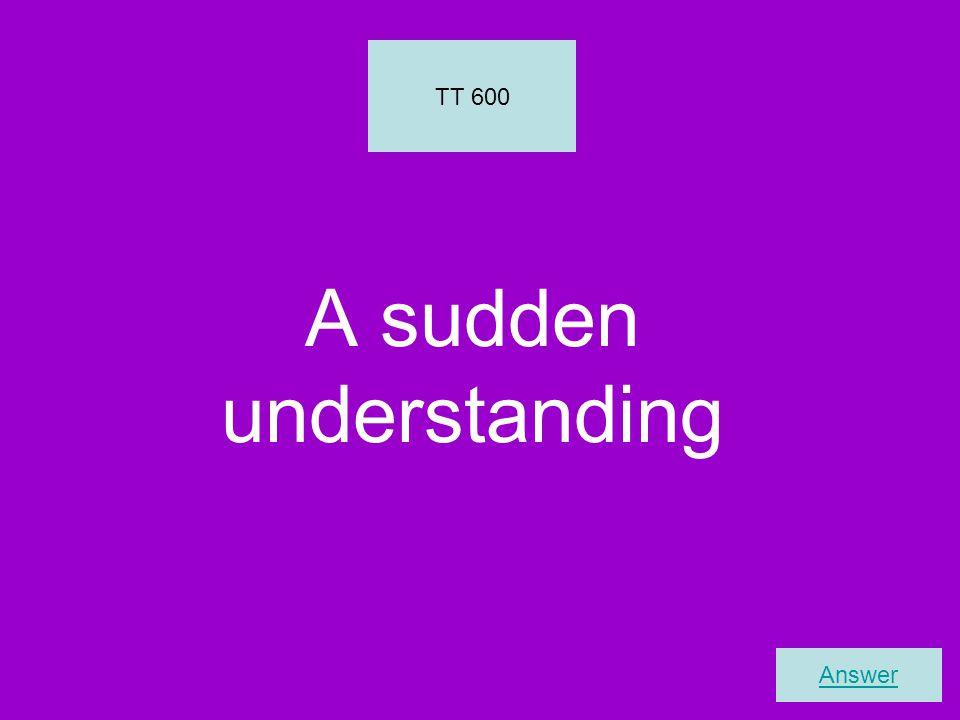 A sudden understanding TT 600 Answer