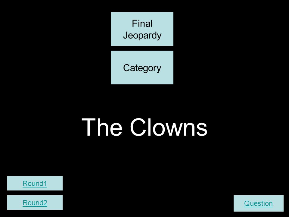 The Clowns Final Jeopardy Question Category Round2 Round1