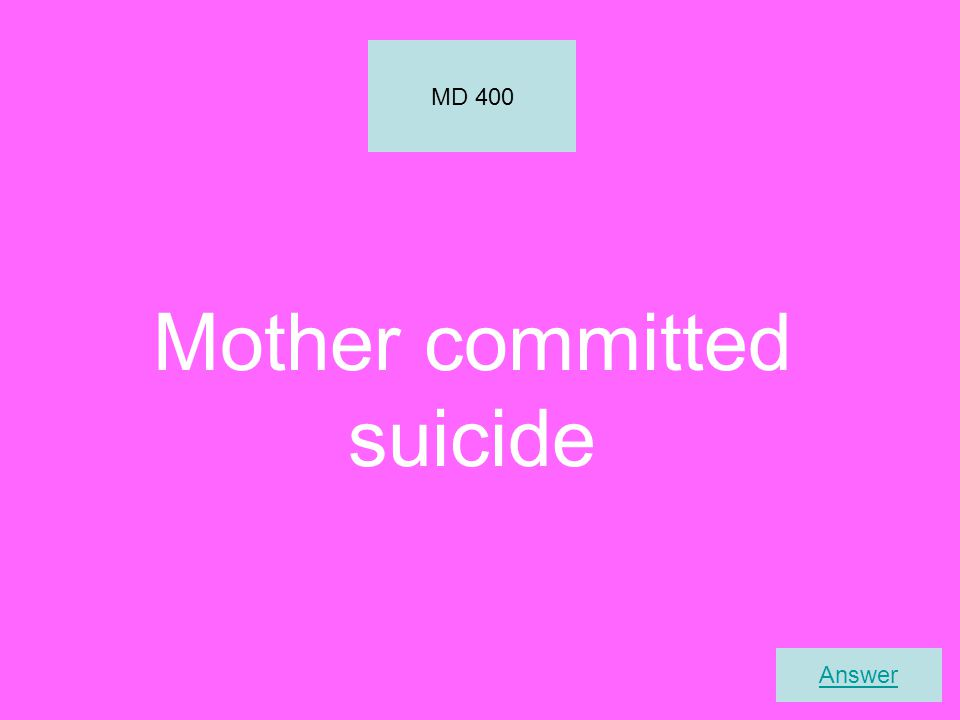 Mother committed suicide MD 400 Answer