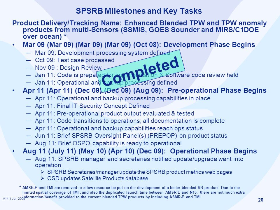 V14.1 Jun 2009 20 SPSRB Milestones and Key Tasks Product Delivery/Tracking Name: Enhanced Blended TPW and TPW anomaly products from multi-Sensors (SSMIS, GOES Sounder and MIRS/C1DOE over ocean) * Mar 09 (Mar 09) (Mar 09) (Mar 09) (Oct 08): Development Phase Begins ─ Mar 09: Development processing system defined ─ Oct 09: Test case processed ─ Nov 09 : Design Review ─ Jan 11: Code is prepared for implementation & Software code review held ─ Jan 11: Operational and backup processing defined Apr 11 (Apr 11) (Dec 09) (Dec 09) (Aug 09): Pre-operational Phase Begins ─ Apr 11: Operational and backup processing capabilities in place ─ Apr 11: Final IT Security Concept Defined ─ Apr 11: Pre-operational product output evaluated & tested ─ Apr 11: Code transitions to operations; all documentation is complete ─ Apr 11: Operational and backup capabilities reach ops status ─ Jun 11: Brief SPSRB Oversight Panel(s) (PREPOP) on product status ─ Aug 11: Brief OSPO capability is ready to operational Aug 11 (July 11) (May 10) (Apr 10) (Dec 09): Operational Phase Begins ─ Aug 11: SPSRB manager and secretaries notified update/upgrade went into operation  SPSRB Secretaries/manager update the SPSRB product metrics web pages  OSD updates Satellite Products database * AMSR-E and TMI are removed to allow resource be put on the development of a better blended RR product.