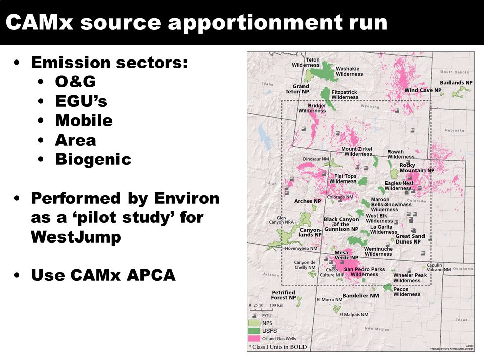 CAMx source apportionment run Emission sectors: O&G EGU's Mobile Area Biogenic Performed by Environ as a 'pilot study' for WestJump Use CAMx APCA