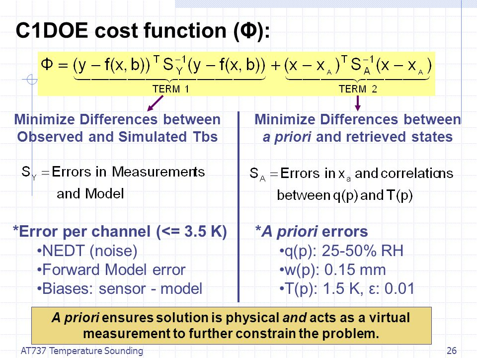 AT737 Temperature Sounding26 C1DOE cost function (Φ): *Error per channel (<= 3.5 K) NEDT (noise) Forward Model error Biases: sensor - model Minimize Differences between Observed and Simulated Tbs Minimize Differences between a priori and retrieved states *A priori errors q(p): 25-50% RH w(p): 0.15 mm T(p): 1.5 K, ε: 0.01 A priori ensures solution is physical and acts as a virtual measurement to further constrain the problem.