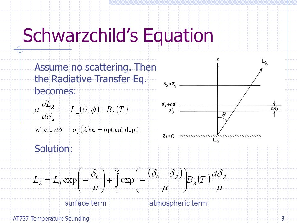 AT737 Temperature Sounding3 Schwarzchild's Equation Assume no scattering.
