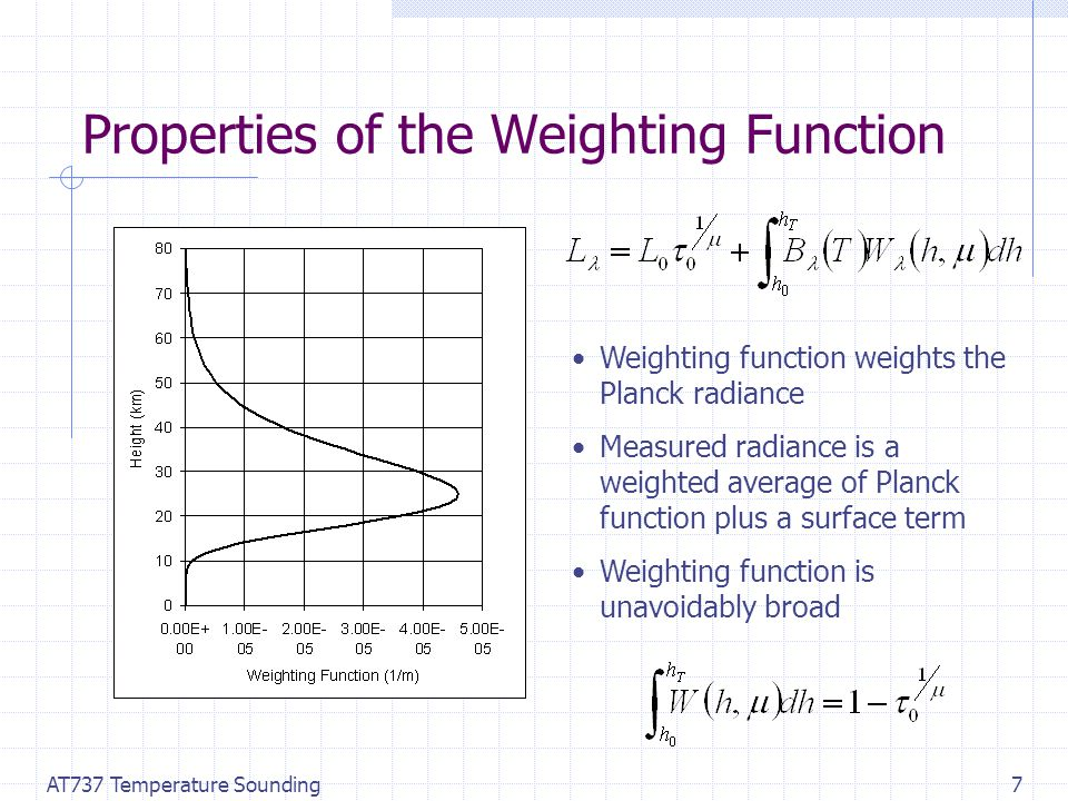 AT737 Temperature Sounding7 Properties of the Weighting Function Weighting function weights the Planck radiance Measured radiance is a weighted average of Planck function plus a surface term Weighting function is unavoidably broad