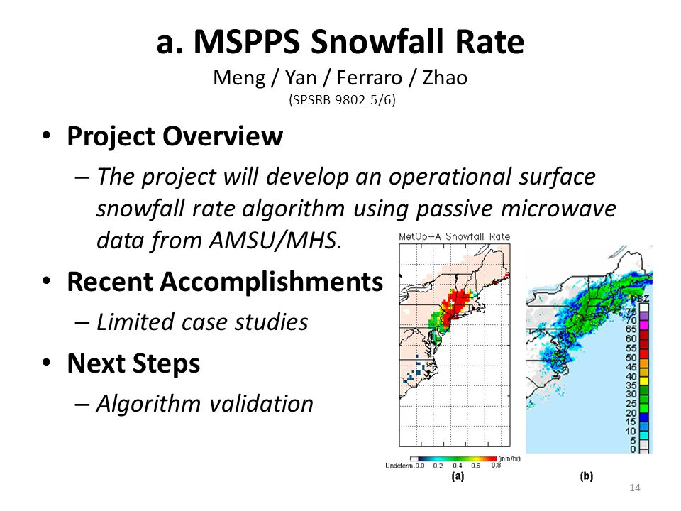a. MSPPS Snowfall Rate Meng / Yan / Ferraro / Zhao (SPSRB 9802-5/6) Project Overview – The project will develop an operational surface snowfall rate a