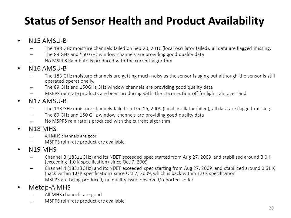 Status of Sensor Health and Product Availability N15 AMSU-B – The 183 GHz moisture channels failed on Sep 20, 2010 (local oscillator failed), all data are flagged missing.