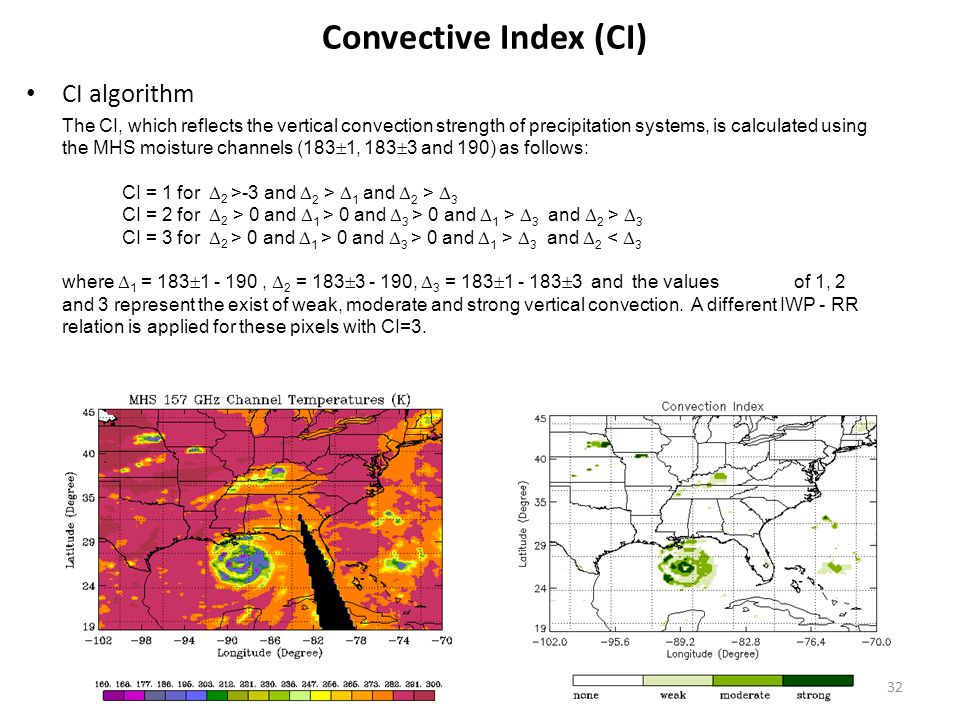 Convective Index (CI) CI algorithm The CI, which reflects the vertical convection strength of precipitation systems, is calculated using the MHS moisture channels (183  1, 183  3 and 190) as follows: CI = 1 for  2 >-3 and  2 >  1 and  2 >  3 CI = 2 for  2 > 0 and  1 > 0 and  3 > 0 and  1 >  3 and  2 >  3 CI = 3 for  2 > 0 and  1 > 0 and  3 > 0 and  1 >  3 and  2 <  3 where  1 = 183  1 - 190,  2 = 183  3 - 190,  3 = 183  1 - 183  3 and the values of 1, 2 and 3 represent the exist of weak, moderate and strong vertical convection.