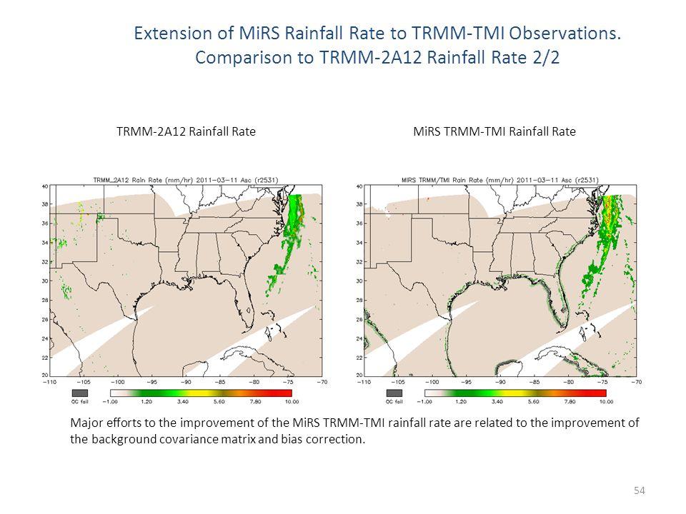 TRMM-2A12 Rainfall RateMiRS TRMM-TMI Rainfall Rate Extension of MiRS Rainfall Rate to TRMM-TMI Observations.