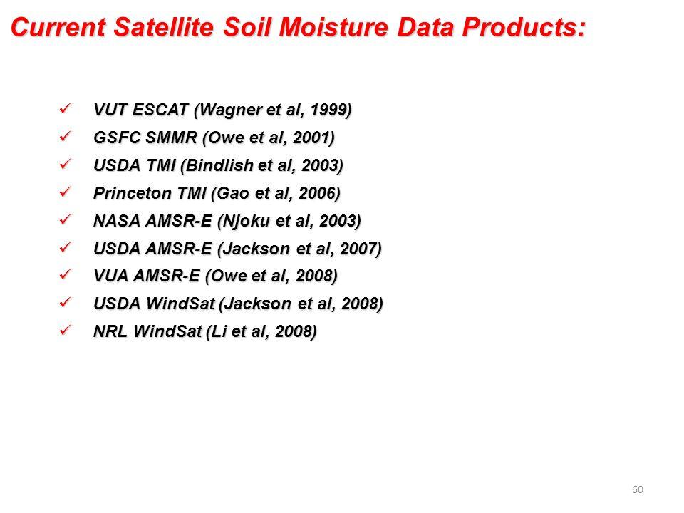 VUT ESCAT (Wagner et al, 1999) VUT ESCAT (Wagner et al, 1999) GSFC SMMR (Owe et al, 2001) GSFC SMMR (Owe et al, 2001) USDA TMI (Bindlish et al, 2003) USDA TMI (Bindlish et al, 2003) Princeton TMI (Gao et al, 2006) Princeton TMI (Gao et al, 2006) NASA AMSR-E (Njoku et al, 2003) NASA AMSR-E (Njoku et al, 2003) USDA AMSR-E (Jackson et al, 2007) USDA AMSR-E (Jackson et al, 2007) VUA AMSR-E (Owe et al, 2008) VUA AMSR-E (Owe et al, 2008) USDA WindSat (Jackson et al, 2008) USDA WindSat (Jackson et al, 2008) NRL WindSat (Li et al, 2008) NRL WindSat (Li et al, 2008) Current Satellite Soil Moisture Data Products: 60
