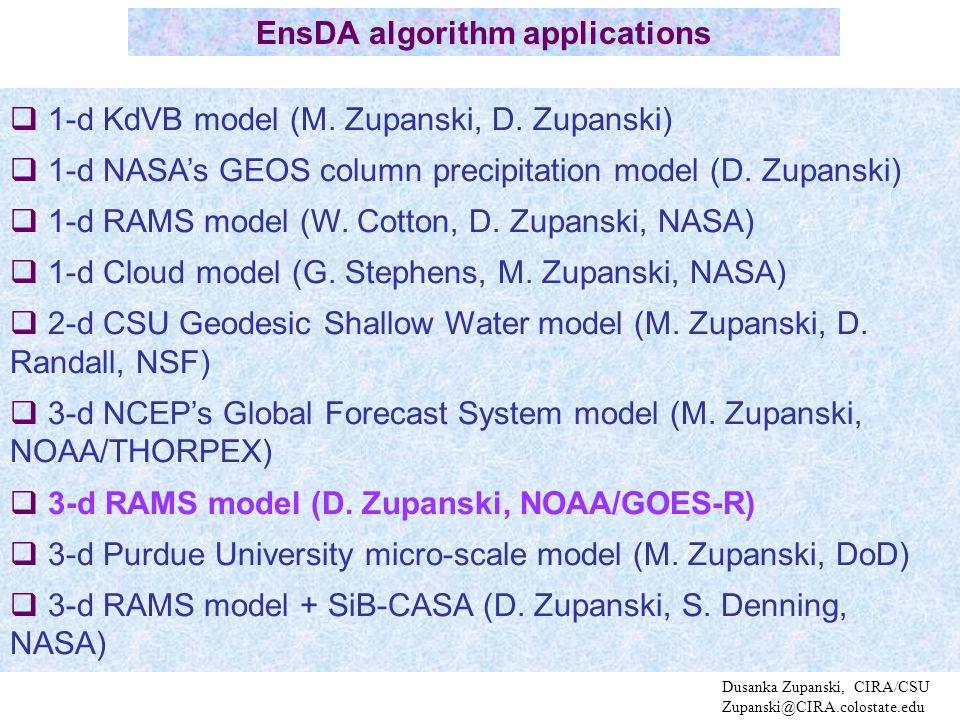 Dusanka Zupanski, CIRA/CSU Zupanski@CIRA.colostate.edu  1-d KdVB model (M.