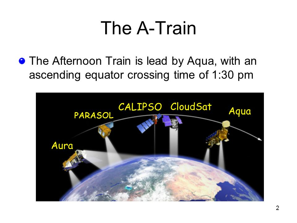 2 The Afternoon Train is lead by Aqua, with an ascending equator crossing time of 1:30 pm The A-Train Aura PARASOL CloudSat CALIPSO Aqua