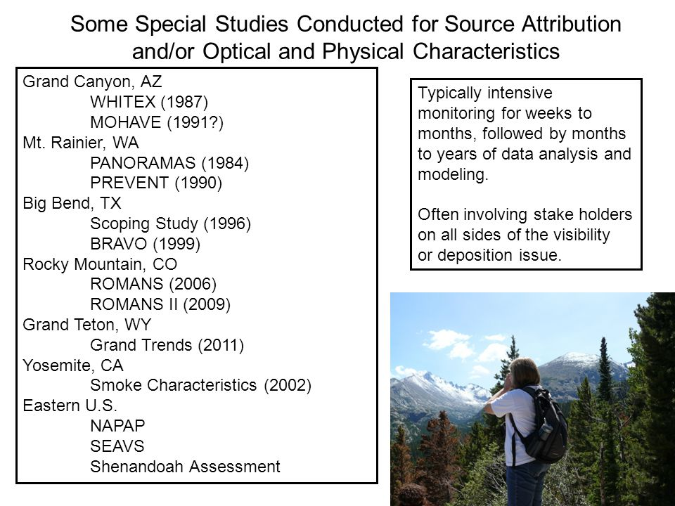 Some Special Studies Conducted for Source Attribution and/or Optical and Physical Characteristics Grand Canyon, AZ WHITEX (1987) MOHAVE (1991?) Mt. Ra