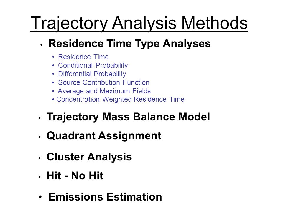Trajectory Analysis Methods Trajectory Mass Balance Model Residence Time Type Analyses Quadrant Assignment Cluster Analysis Hit - No Hit Emissions Estimation Residence Time Conditional Probability Differential Probability Source Contribution Function Average and Maximum Fields Concentration Weighted Residence Time