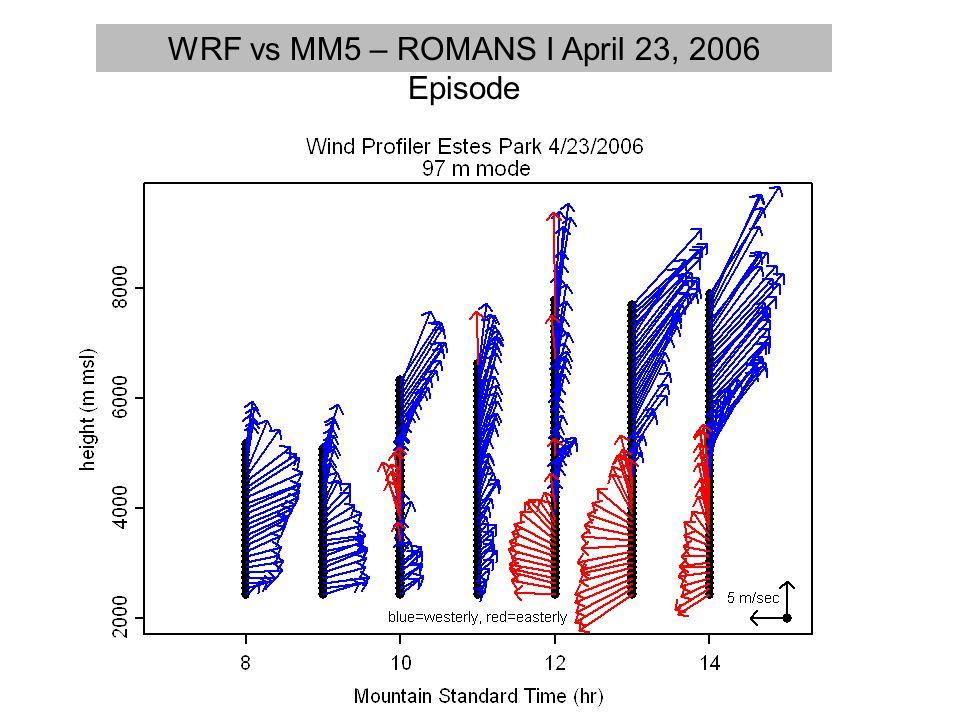 WRF vs MM5 – ROMANS I April 23, 2006 Episode