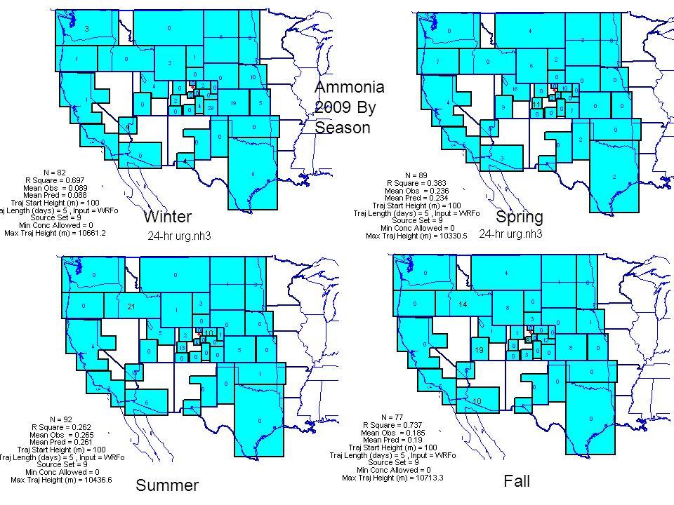 Ammonia 2009 By Season WinterSpring Summer Fall