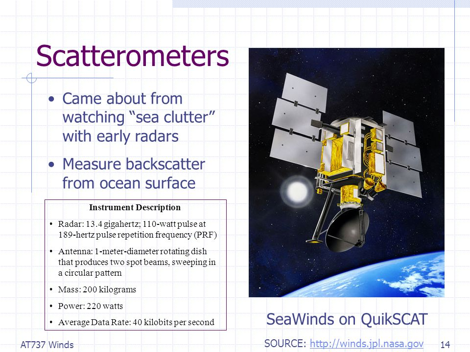 AT737 Winds14 Scatterometers Came about from watching sea clutter with early radars Measure backscatter from ocean surface SeaWinds on QuikSCAT Instrument Description Radar: 13.4 gigahertz; 110-watt pulse at 189-hertz pulse repetition frequency (PRF) Antenna: 1-meter-diameter rotating dish that produces two spot beams, sweeping in a circular pattern Mass: 200 kilograms Power: 220 watts Average Data Rate: 40 kilobits per second SOURCE: http://winds.jpl.nasa.govhttp://winds.jpl.nasa.gov