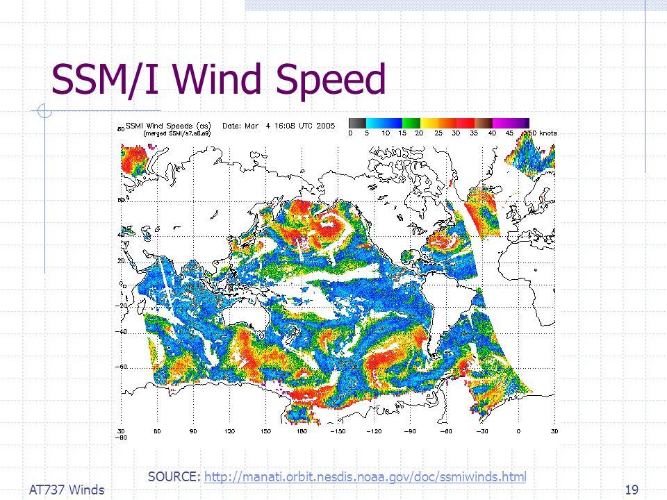 AT737 Winds19 SSM/I Wind Speed SOURCE: http://manati.orbit.nesdis.noaa.gov/doc/ssmiwinds.htmlhttp://manati.orbit.nesdis.noaa.gov/doc/ssmiwinds.html