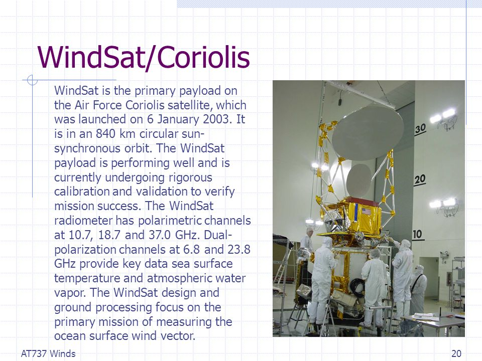 AT737 Winds20 WindSat/Coriolis WindSat is the primary payload on the Air Force Coriolis satellite, which was launched on 6 January 2003.