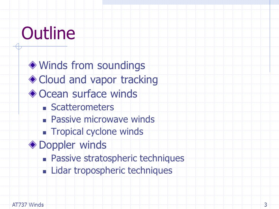 AT737 Winds3 Outline Winds from soundings Cloud and vapor tracking Ocean surface winds Scatterometers Passive microwave winds Tropical cyclone winds Doppler winds Passive stratospheric techniques Lidar tropospheric techniques