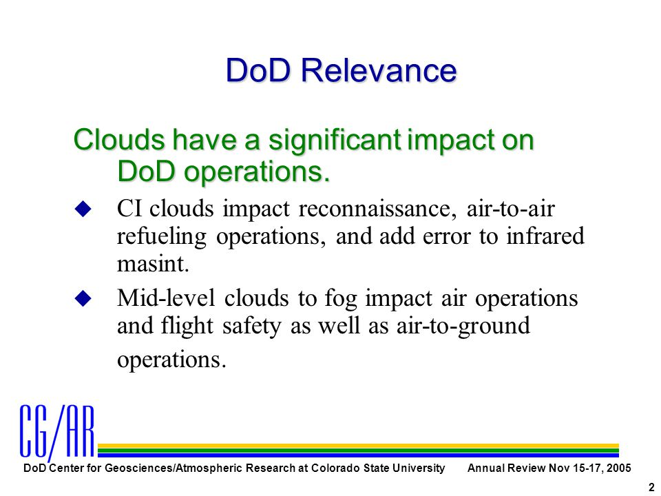 DoD Center for Geosciences/Atmospheric Research at Colorado State University Annual Review Nov 15-17, 2005 2 DoD Relevance Clouds have a significant impact on DoD operations.