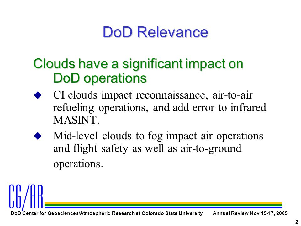 DoD Center for Geosciences/Atmospheric Research at Colorado State University Annual Review Nov 15-17, 2005 2 DoD Relevance Clouds have a significant i