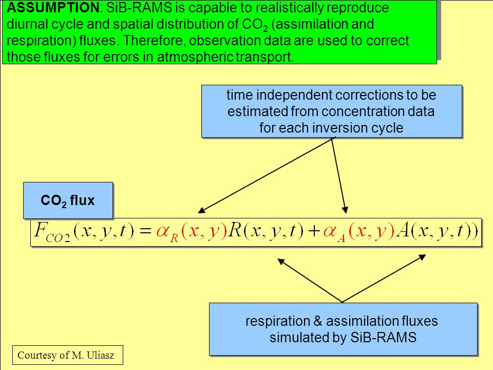 CO 2 flux respiration & assimilation fluxes simulated by SiB-RAMS respiration & assimilation fluxes simulated by SiB-RAMS time independent corrections to be estimated from concentration data for each inversion cycle time independent corrections to be estimated from concentration data for each inversion cycle ASSUMPTION: SiB-RAMS is capable to realistically reproduce diurnal cycle and spatial distribution of CO 2 (assimilation and respiration) fluxes.