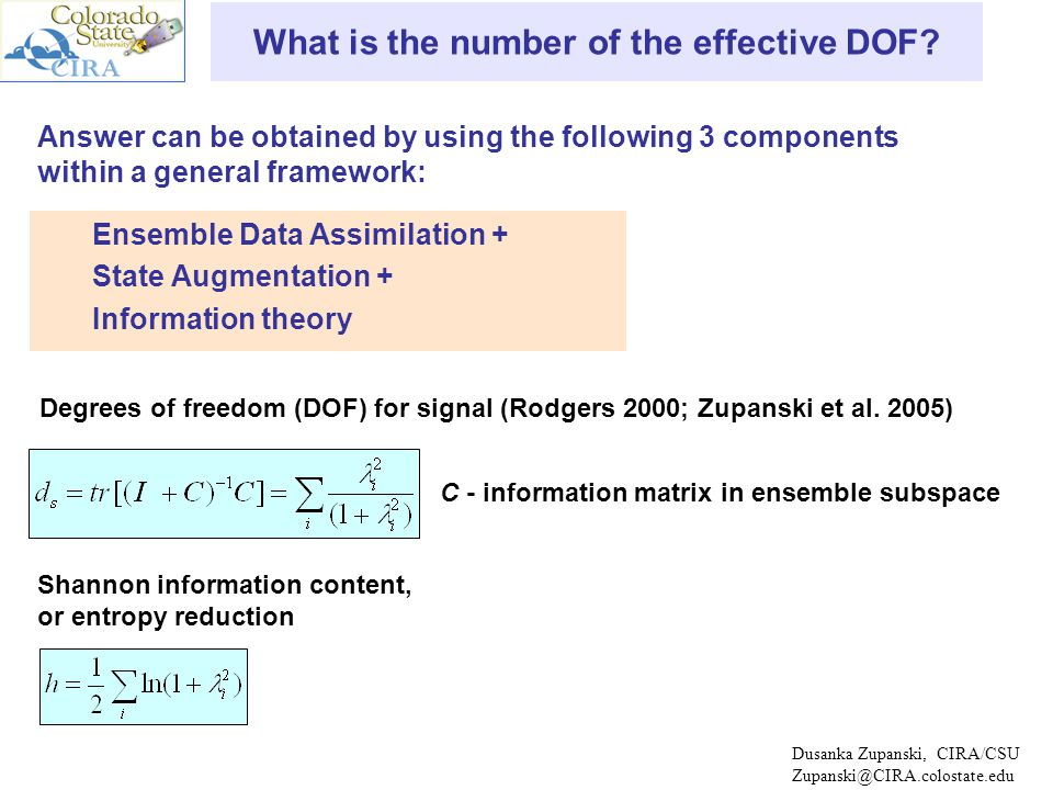 Dusanka Zupanski, CIRA/CSU Zupanski@CIRA.colostate.edu Information Content Analysis GEOS-5 Single Column Model N state =80; N obs =80 d s measures effective DOF of an ensemble-based data assimilation system (e.g., MLEF).