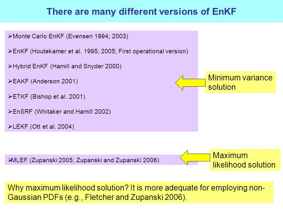 There are many different versions of EnKF  Monte Carlo EnKF (Evensen 1994; 2003)  EnKF (Houtekamer et al.