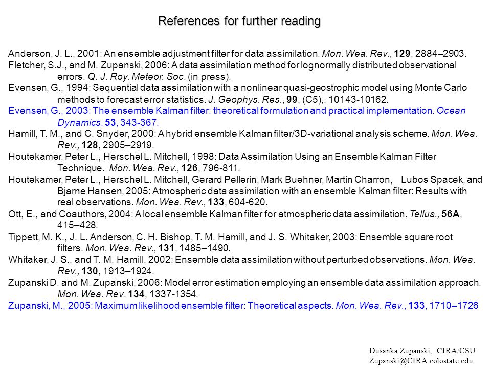 References for further reading Anderson, J.