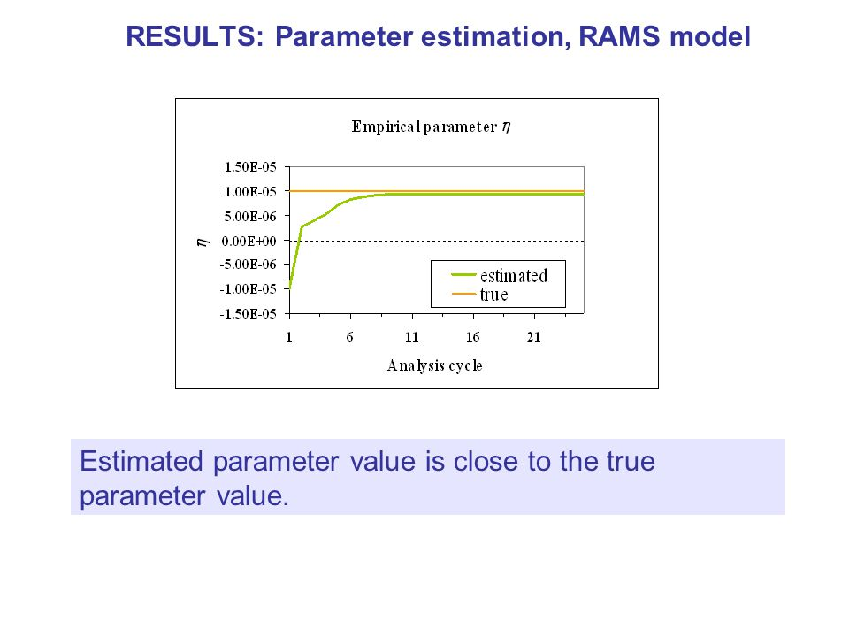 RESULTS: Parameter estimation, RAMS model Estimated parameter value is close to the true parameter value.