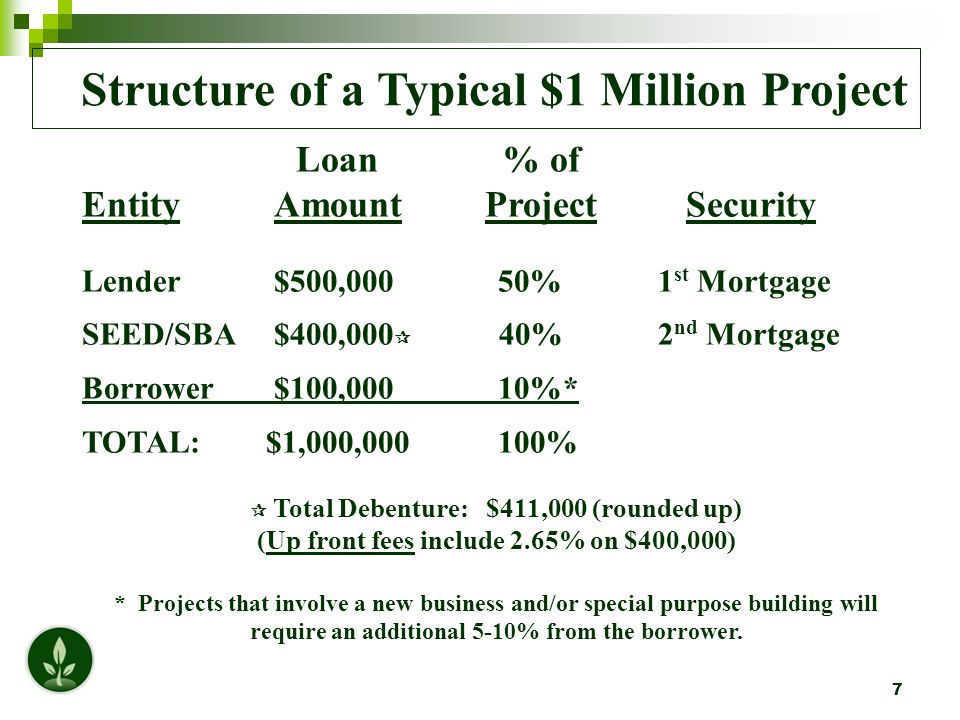 7 Structure of a Typical $1 Million Project Loan % of EntityAmount Project Security Lender$500,000 50%1 st Mortgage SEED/SBA$400,000  40%2 nd Mortgage Borrower$100,000 10%* TOTAL: $1,000,000 100%  Total Debenture: $411,000 (rounded up) (Up front fees include 2.65% on $400,000) * Projects that involve a new business and/or special purpose building will require an additional 5-10% from the borrower.